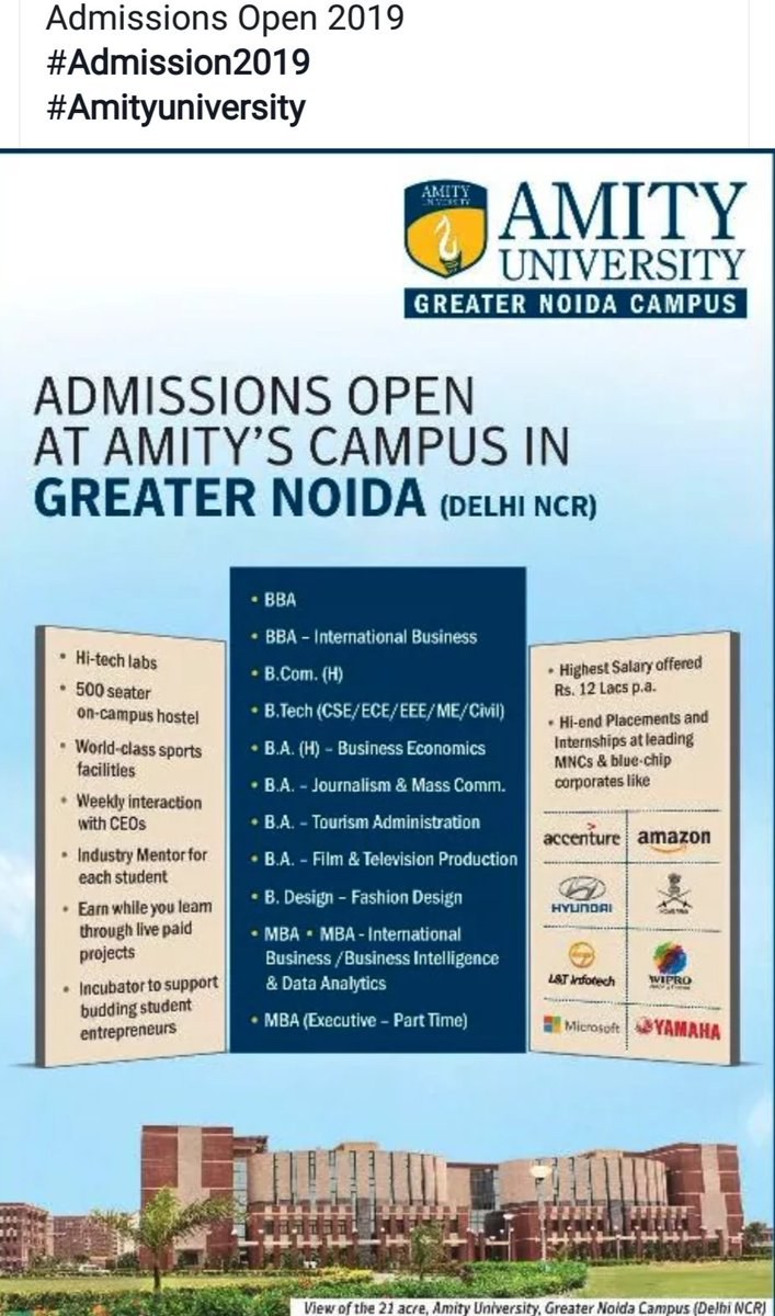 Silky Sharma On Twitter Check Out For Admissions Into Latest Courses In Amity University Greater Noida Campus Limited Seats Apply Soon Scholarships For Brilliant Students Lush Green Campus In Pollution And Traffic