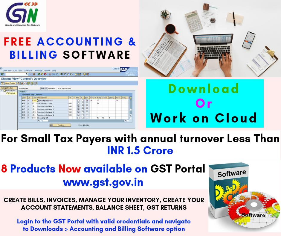 Download free accounting and billing software from GST Portal