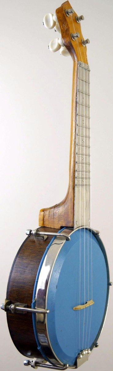 Soprano ukulele banjo with decorated back