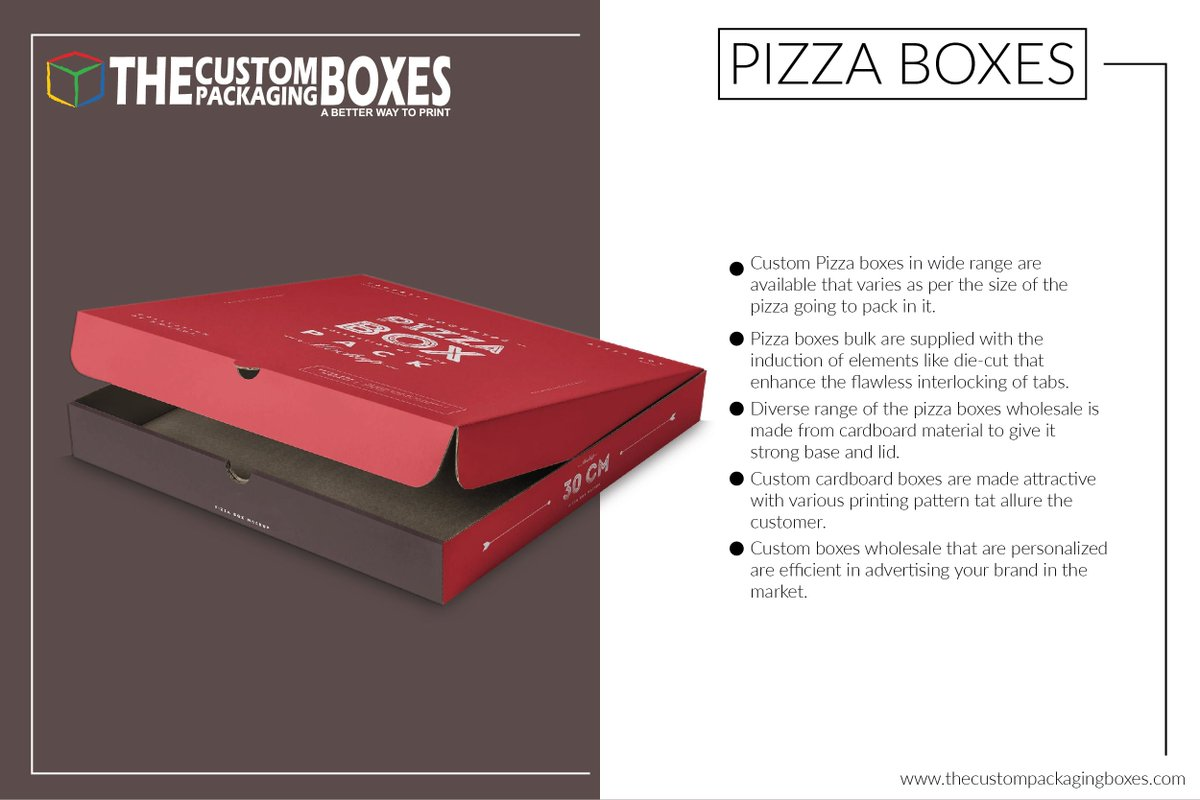 Lamination over pizza boxes is necessary as it gives flawless smooth surface. https://thecustompackagingboxes.com/custom-boxes/pizza-boxes/… #CustomPizzaBoxes, #PizzaBoxeswholesale, #pizzaboxesforsale, #CustomCorrugatedBoxes, #CustomDieCutBoxes, #CustomCardboardBoxes, #customboxeswholesale, #PizzaBoxesBulkpic.twitter.com/1zD0auQBEl
