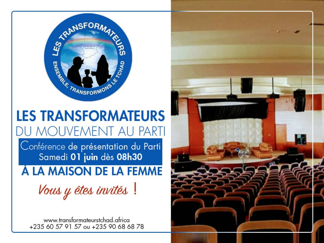 Le tchad et non pas un parti de plus venez vous joindre à nous ce samedi 01 juin à la maison de la femme pour la présentation du parti