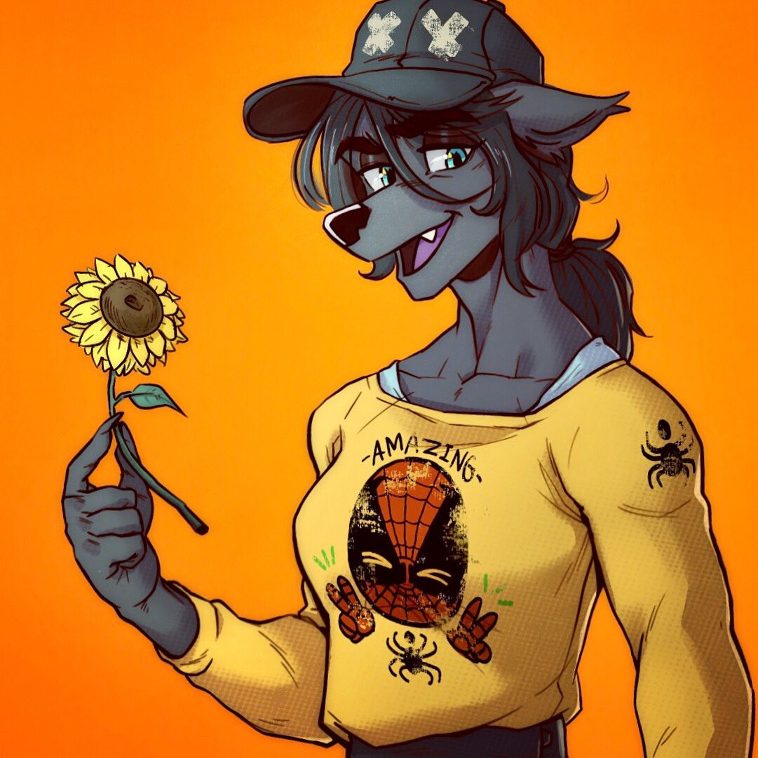 I forgot to post his drawing into my twitter. Ayla holding a tiny sunflower