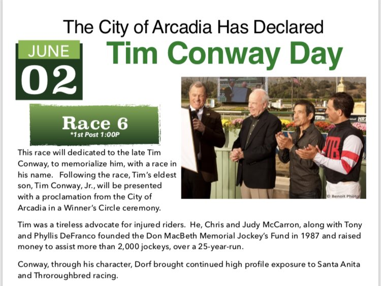 RT @THEREAL_DV: This Sunday, the 6th Race at @santaanitapark will be dedicated to the late Tim Conway. https://t.co/XrPpU6sysS