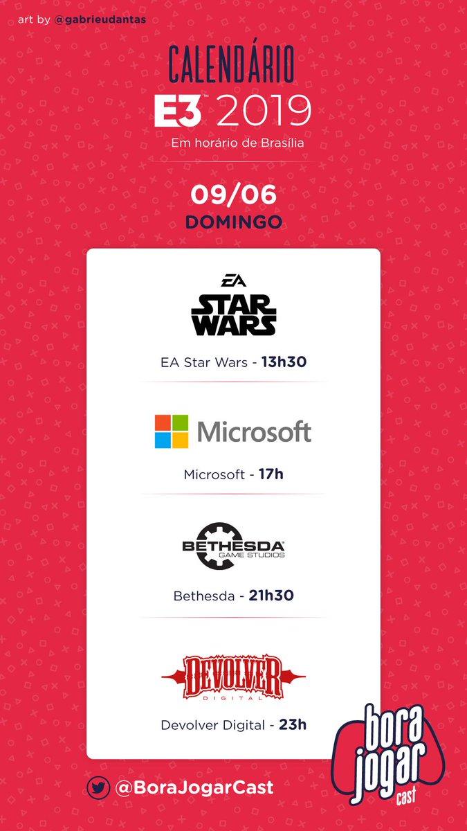 E3 Calendario.Bora Jogar Twitter પર Ta Chegando A E3 2019 Programe Se