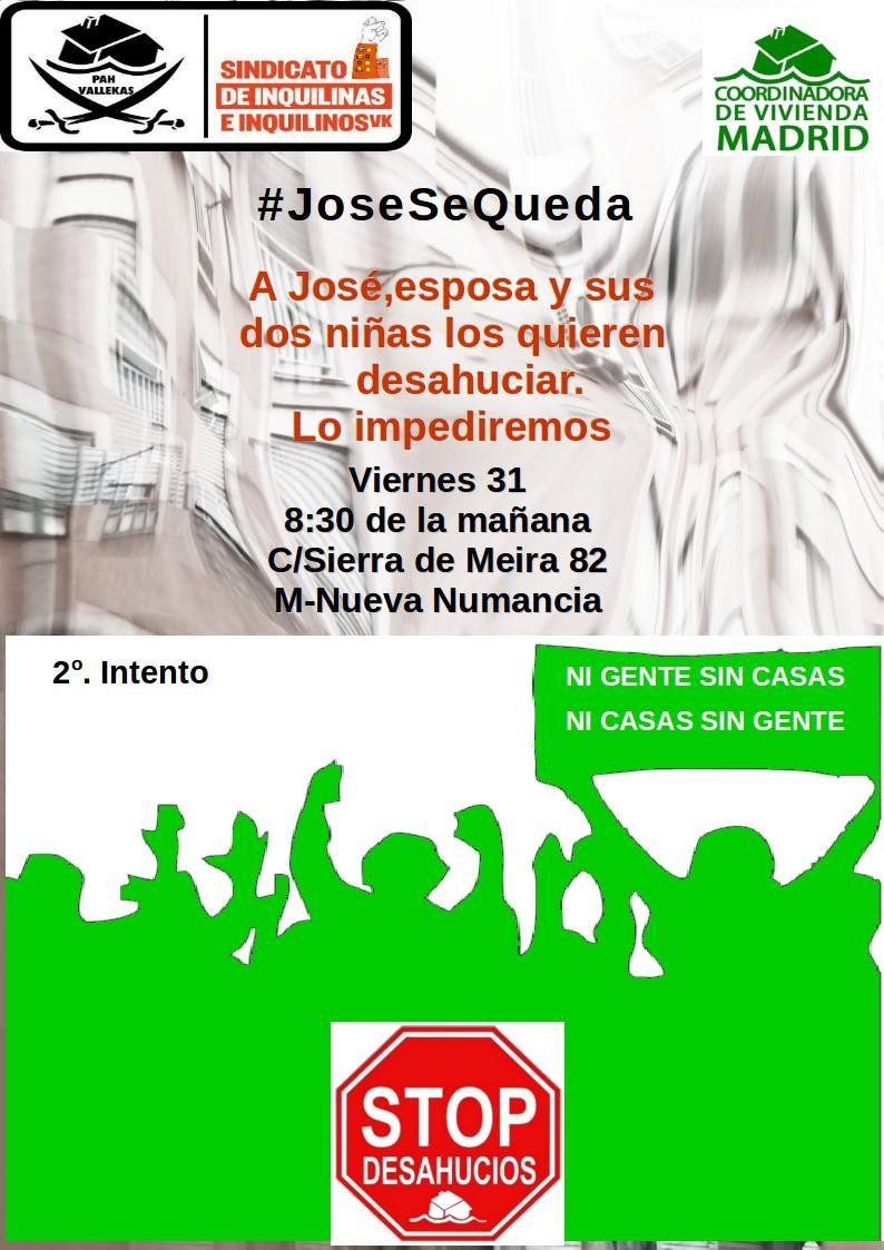 Necesitamos vuestra ayuda este viernes para detener dos desahucios #JoseSeQueda #ConsueloSeQueda