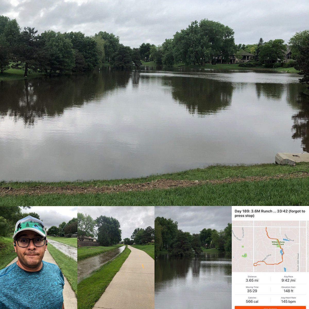 #RunStreak Day 189: 3.6M Runch before meeting my friend for real lunch. We've had some rain ...   I forgot to press stop when I finished, and added an extra set of time. I did see the time, 33:42, but it didn't record. #BibChat #RunChat #TeamHeadsweats <br>http://pic.twitter.com/pdcxABLP6s