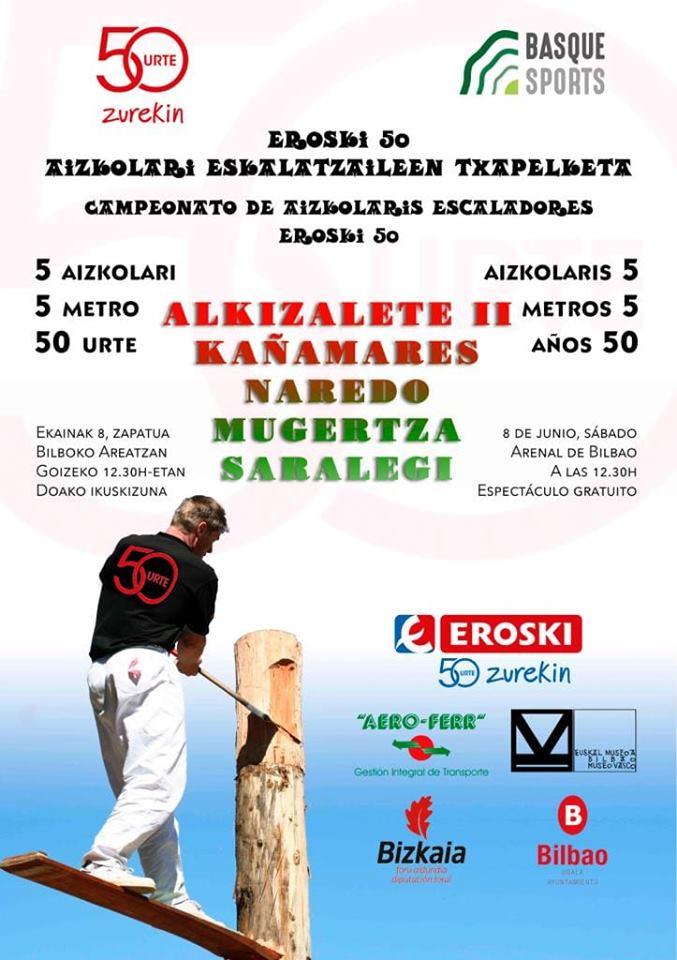 ¡Solo quedan 10 días para nuestro campeonato Eroski 50 de Aizkolaris Escaladores!  ➡️ 5 aizkolaris ➡️ 5 de metros de altura ➡️ Entrada gratuita  Te esperamos el sábado 8 de junio a las 12.30 en el Arenal de Bilbao 😉 https://t.co/Sia1z3wt2V