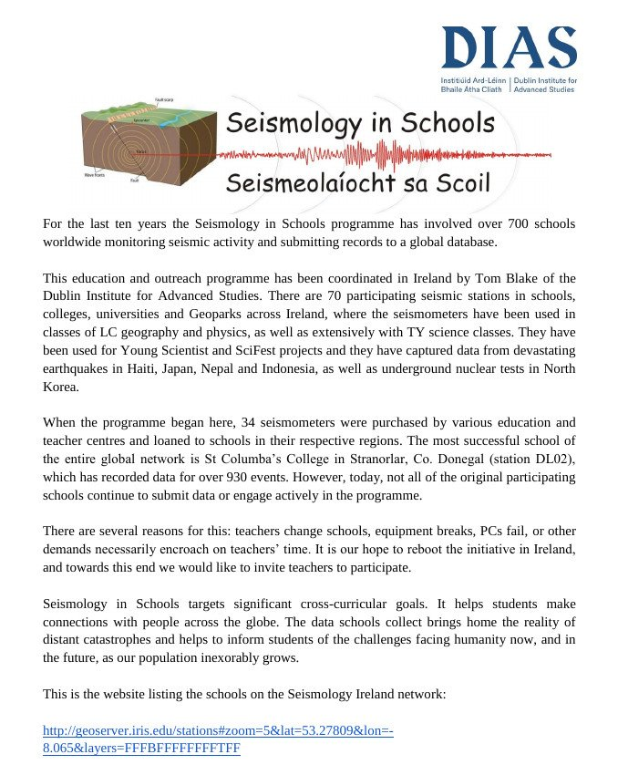 test Twitter Media - Does your school have a seismometer? Read about DIAS and Seismology in Schools program in the Teachers Union of Ireland newsletter! #NextGeneration #DIASdiscovers https://t.co/vdzySeONBC