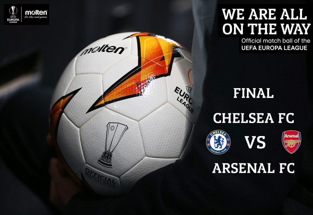 Its here! The all English @EuropaLeague final between @ChelseaFC and @Arsenal. This is not one to miss!