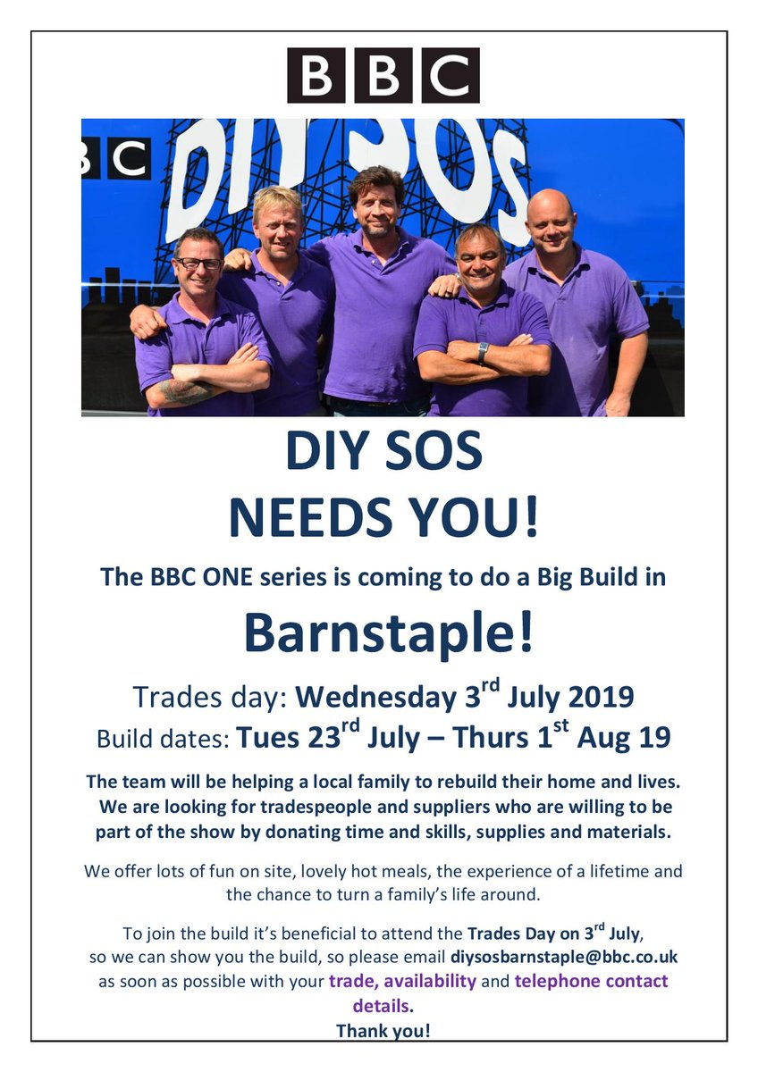 Diy Sos Application Form, Tuesday 23rd July Thursday 1st August Were Looking For As Much Support As Possible From Trades Suppliers Volunteers Can You Help, Diy Sos Application Form