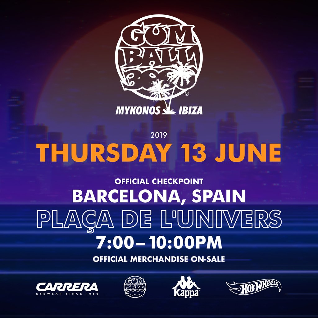 OFFICIAL CHECKPOINT: Barcelona, Spain Placa De L'Univers Thursday 13th June. Cars arriving from 7.00-10.00pm Official merchandise on sale #MykonsvIbiza⠀ #Gumball3000⠀ #GumballLife