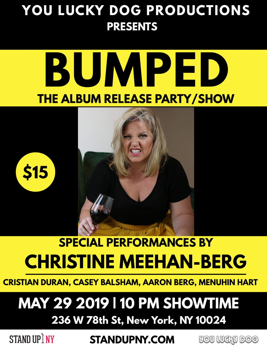 """Tonight, we celebrate! It's the album release party for @funnychristine at @StandUpNY ! Featuring @CaseyBalsham @MenuhinHart @aaronbergcomedy & @cduranduran    https:// smarturl.it/BUMPEDParty      Use promo code """"Bumped"""" for $5 off tix #Comedy #Bumped #UpperWestSide #Thingstodoinnyc <br>http://pic.twitter.com/QxNdyKEWNP"""