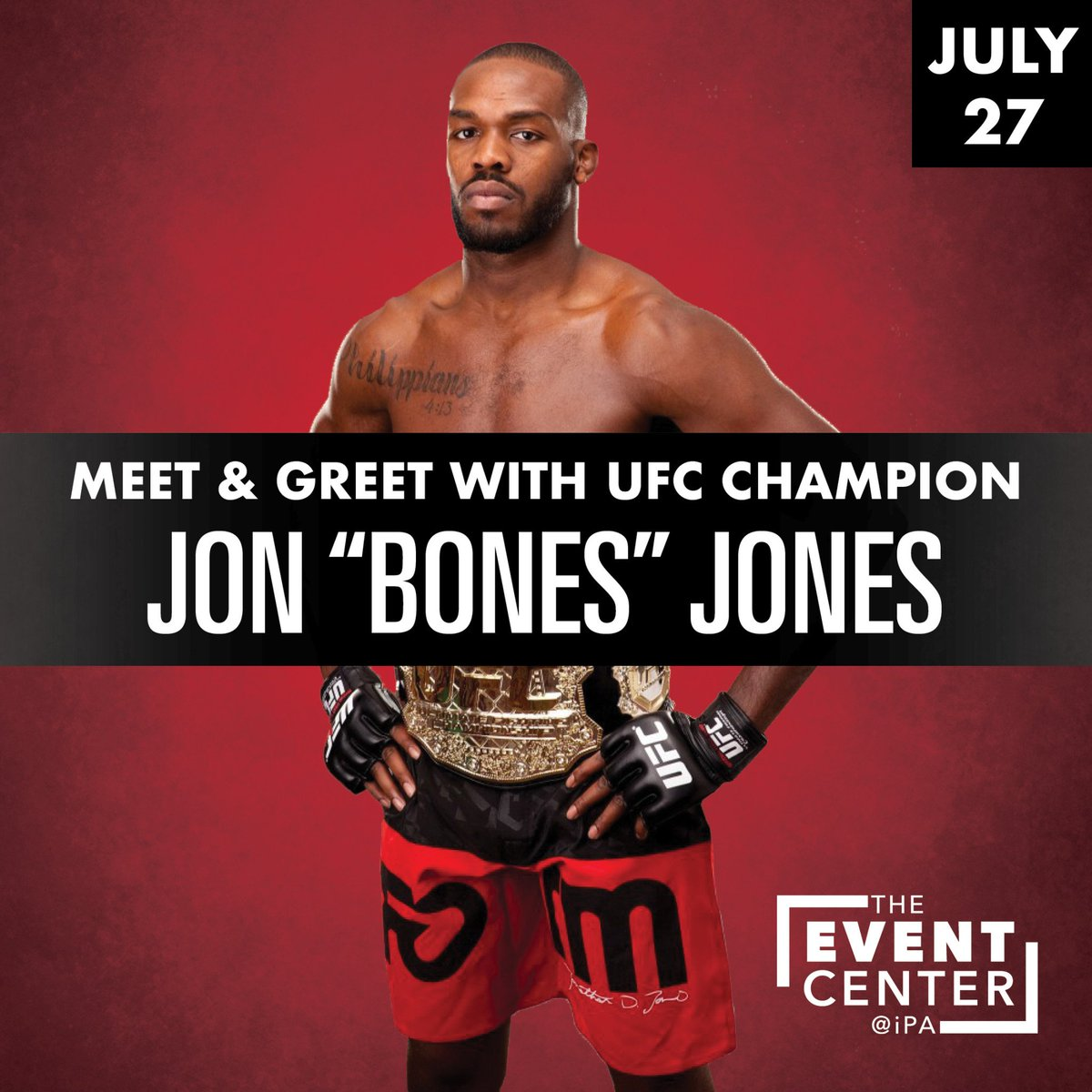JUST ANNOUNCED‼  #UFC Champion @JonnyBones will be here on Saturday, July 27th! Tickets for the meet & greet and autograph signing go on-sale Friday at 1pm.👊 http://bit.ly/2QwsGR4
