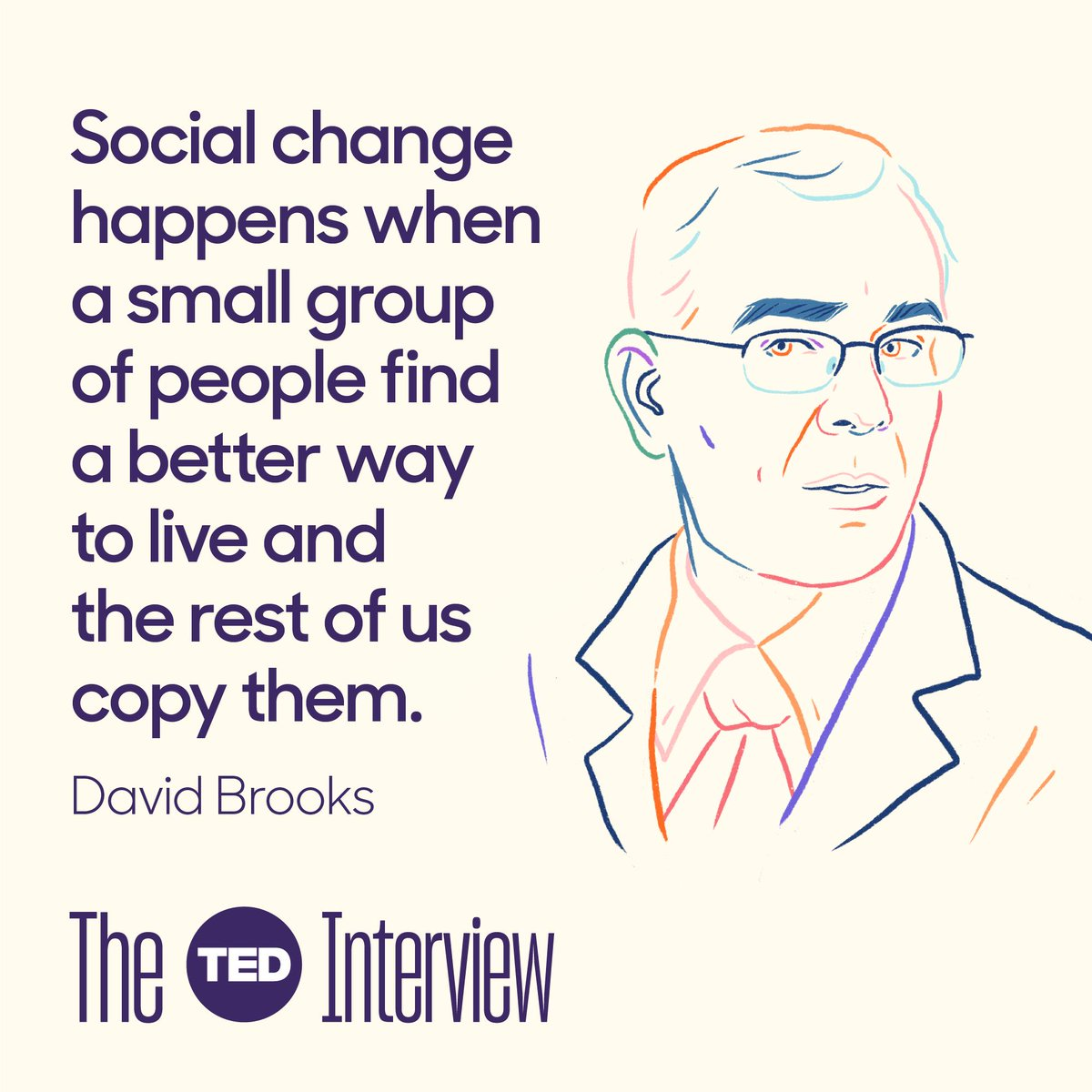 New episode of #TheTEDInterview features @nytdavidbrooks on the search for meaning in both our lives and our broken politics. https://bit.ly/2JRTk5w