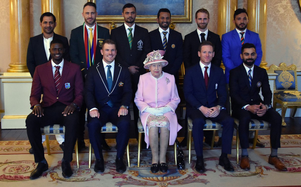 This afternoon, The Queen and The Duke of Sussex met @cricketworldcup team captains at Buckingham Palace ahead of the start of the tournament tomorrow.