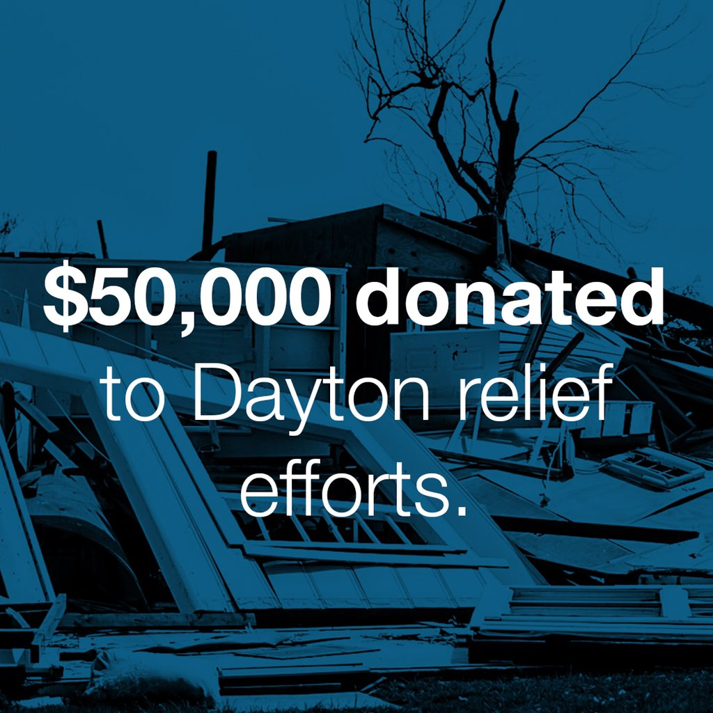 Because of the generosity of our community, we have the opportunity to support relief efforts in Dayton through the mobilization of volunteers as well as financially.