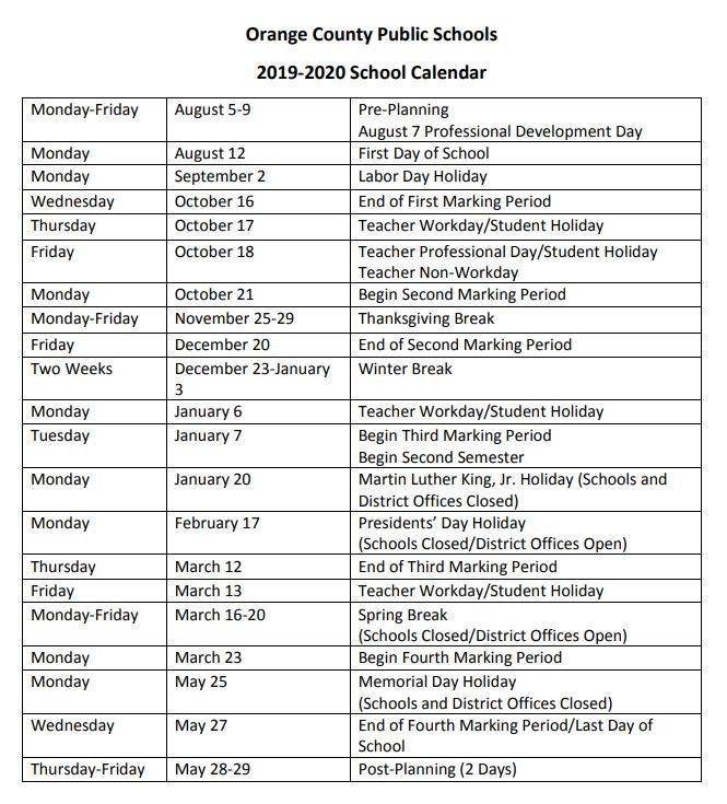Ocps Calendar
