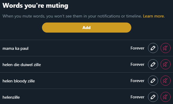 I've literally tried everything to mute HZ. I don't want to see anything about her on twitter.   What am I doing wrong?