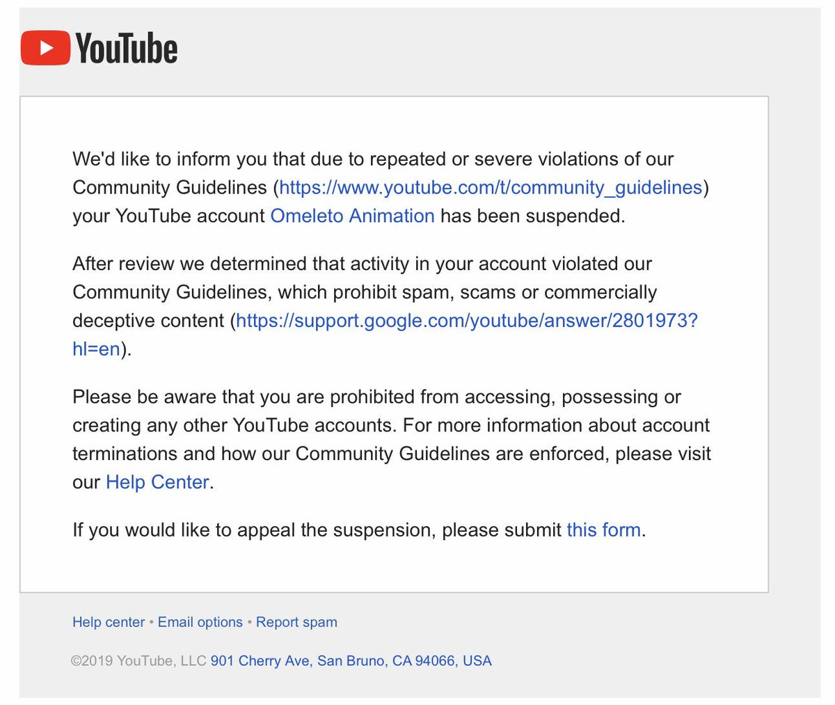 """Hey @TeamYouTube, @YouTube.  This is the third time you've terminated our channel for """"massively uploading content that you scraped from other users,"""" despite us obtaining written permission to upload all our videos.  Please retweet. YouTube, your system is broken."""