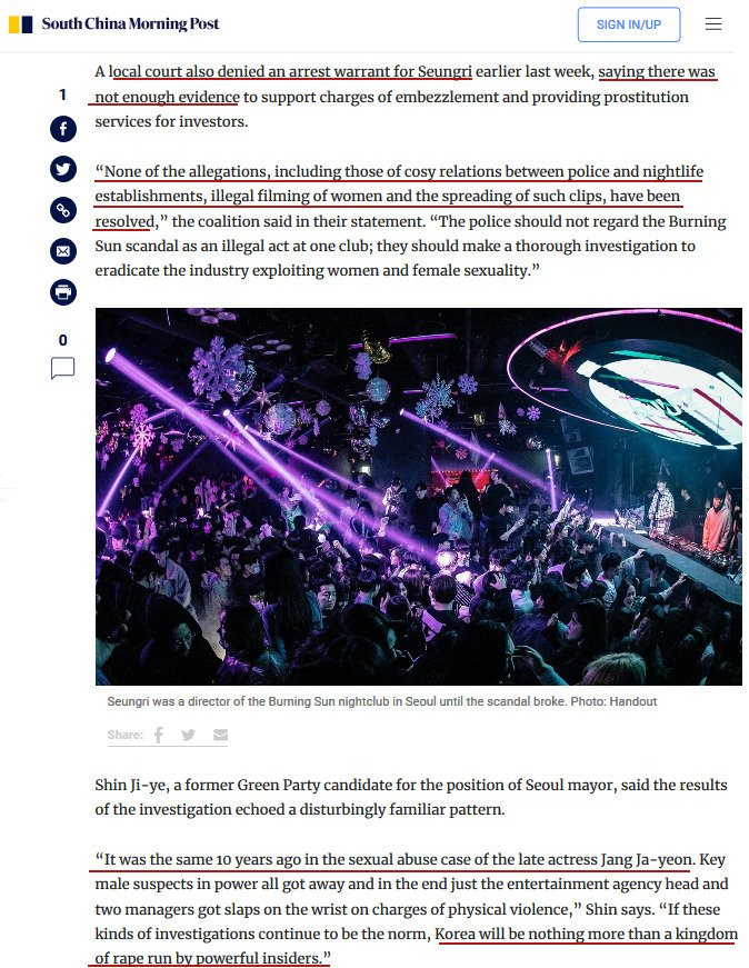 "Report: ""None of the allegations, including those of cosy relations between police and nightlife establishments, illegal filming of women and the spreading of such clips, have been resolved,"" the coalition said in their statement https://www.scmp.com/lifestyle/entertainment/article/3010916/k-pop-sex-and-drugs-nightclub-scandal-few-arrests-and …  #BurningSun #Korea #kpop"