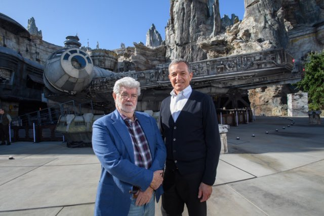 George Lucas with Bob Iger at Disneyland's Galaxy's Edge