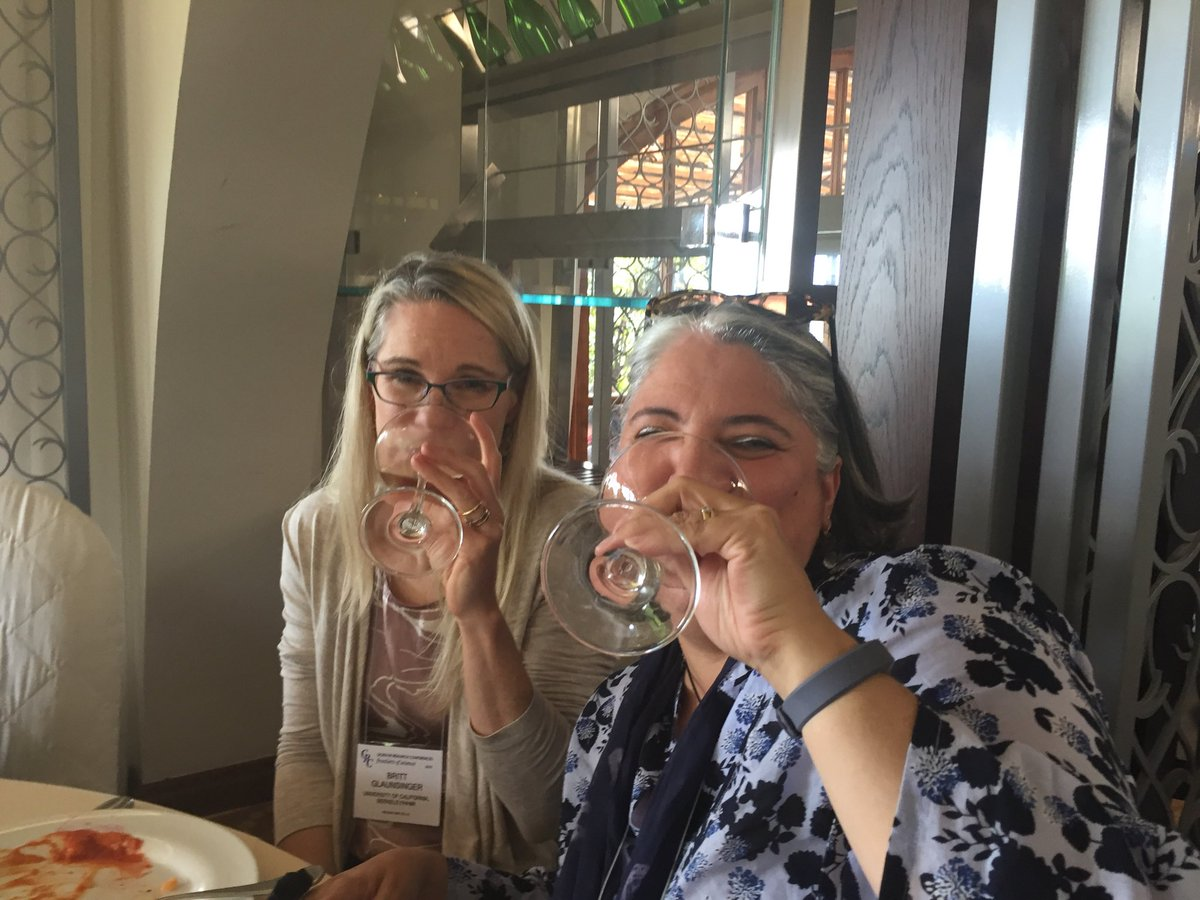 """Congrats to @SesmaLab, elected vice chair of the 2021 Viruses and Cells GRC (with 2021 chair Britt Glaunsinger here at lunch). They're already """"preparing"""". 😀"""