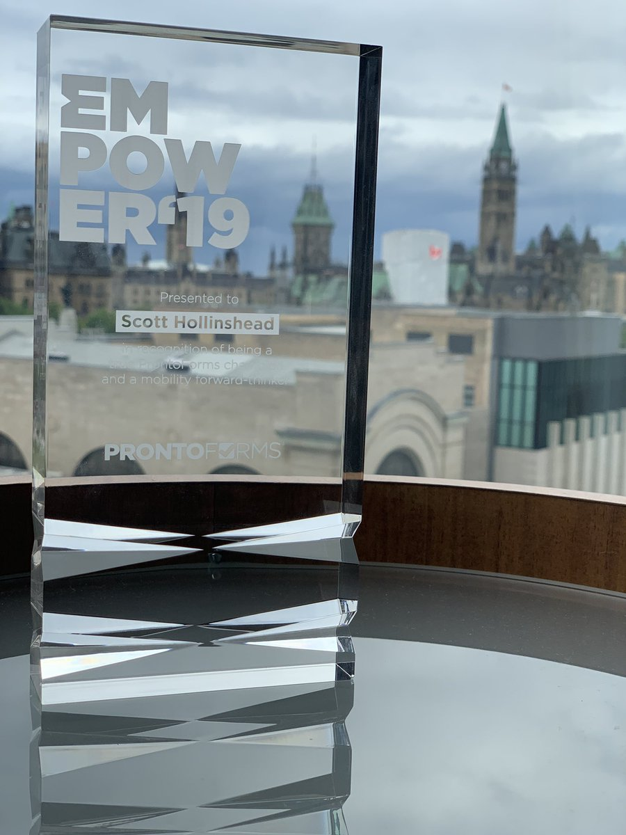 Delighted to have been awarded the @ProntoForms 'Care' Award today, it's been a privilege to represent @streetsoccerSCO & share our teamwork! Not everyday you get to pick up an award in Canada  Thankyou to Alvaro, Danika, Mark and the whole @ProntoForms team! #positivechange <br>http://pic.twitter.com/hGlr8Y8XCE