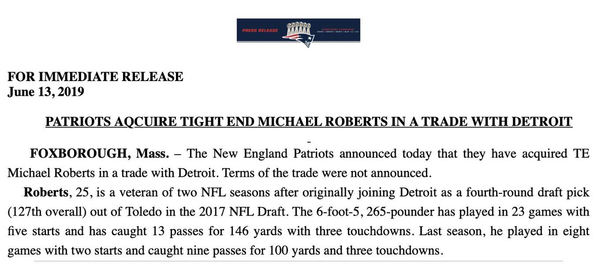 #Patriots officially bolster their TE corps in a trade with Matt Patricias Lions.