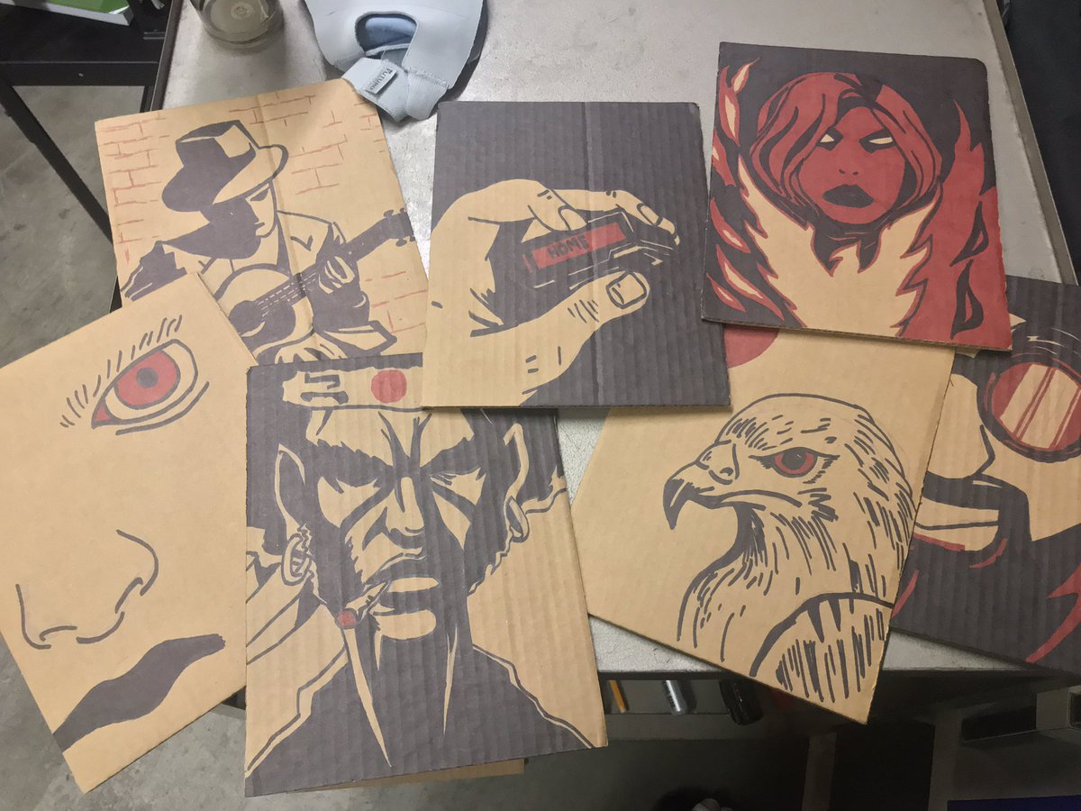 Might be onto something #cardboardart #cardboard #conquesopublishing #cqcomics #afrosamurai #darkphoenix #eagle #pager #blues #bluesman
