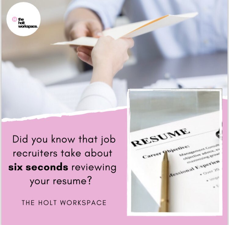 Six seconds! Really?   We can make sure that your resume stands out to job recruiters today! ✨💻✍🏾 #theholtworkspace #resume #careerdevelopment #careeradvice #jobs #careercoach