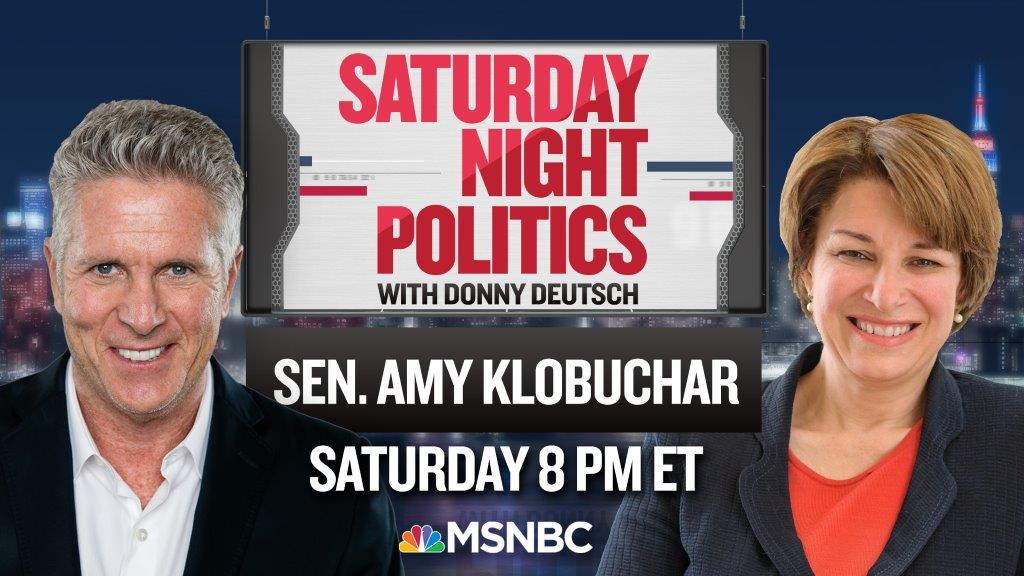 This week on @SNPonMSNBC, 2020 presidential candidate Sen. @AmyKlobuchar joins me to discuss her preparation for the first presidential debate. Watch this Saturday at 8/7c on @MSNBC. 🇺🇸 https://t.co/3sIrbetOVI
