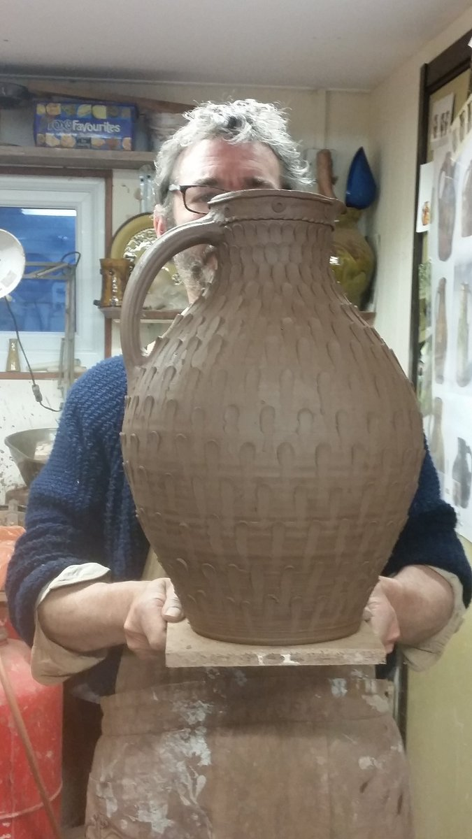 Just finished for the night, we're working crazy long days at the moment. I thought I'd try the pellets on a bigger jug, I reckon it'll work a treat if I can get it through successfully, big pots are tricky at every stage  #slipware  #fitchandmcandrewonline