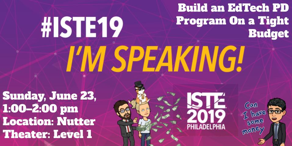 Thrilled to be presenting with my #edtech sister, @kmartintahoe at #ISTE19, with support from @NewImpulse. We'll be sharing #Leadership stories of Building EdTech PD Programs on a Tight Budget. JOIN US, 6/23, 1-2 pm; Nutter Theater - Level 1.