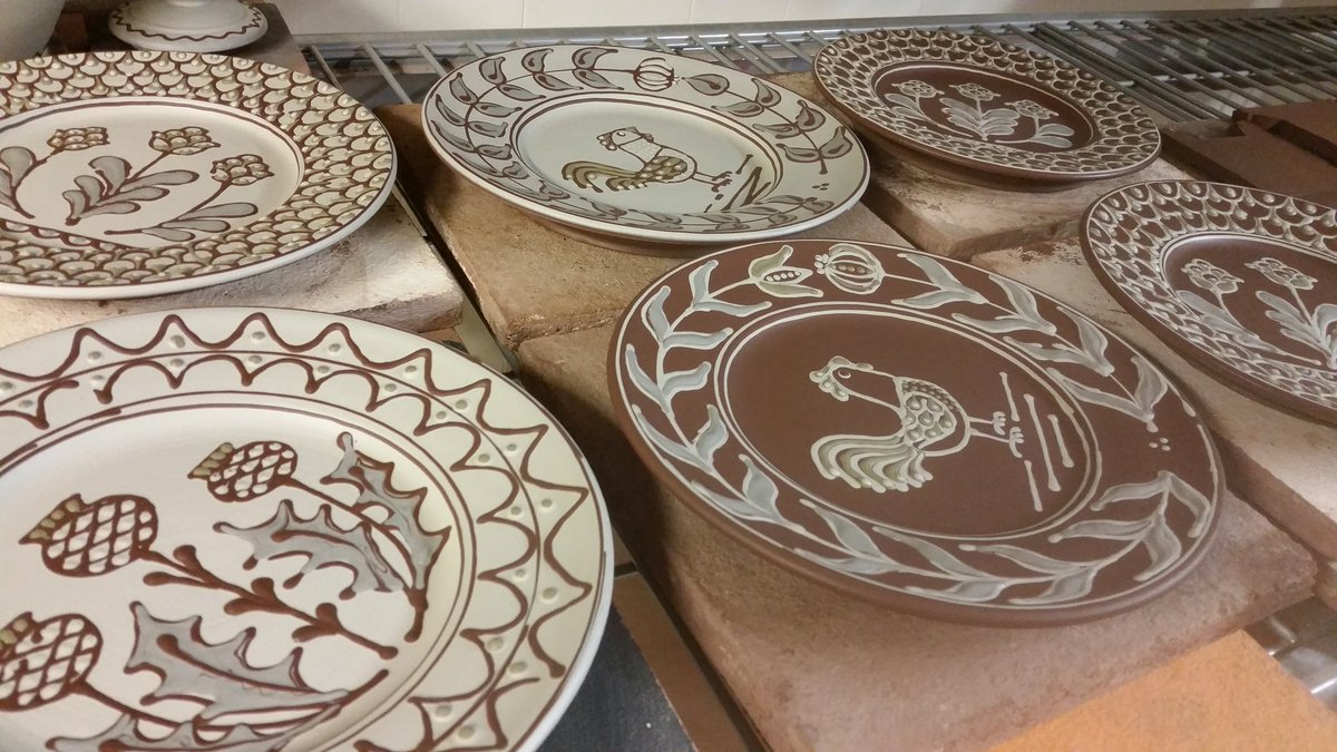 Small plates that my amazing wife @hannahmcandrew decorated today, beautiful execution, such extraordinary skill. #slipware  #fitchandmcandrewonline  #hannahmcandrew