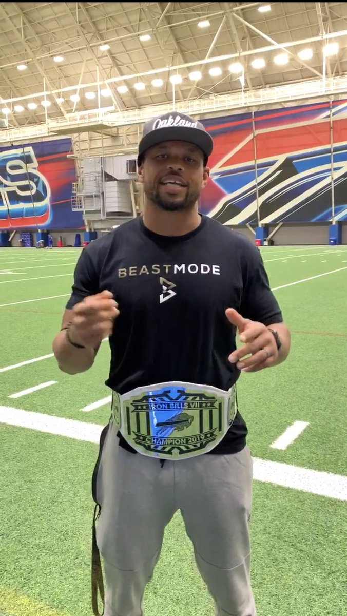 And the 2019 Iron #Bills Champ is yours truly. Must be a CAL thing @AaronRodgers12. Special shout out to @J_poyer21 & @j_croom18 for all the hating! And they say 36 is old!!! 🤔🤔🤔😂😂😂😂😂😂😂