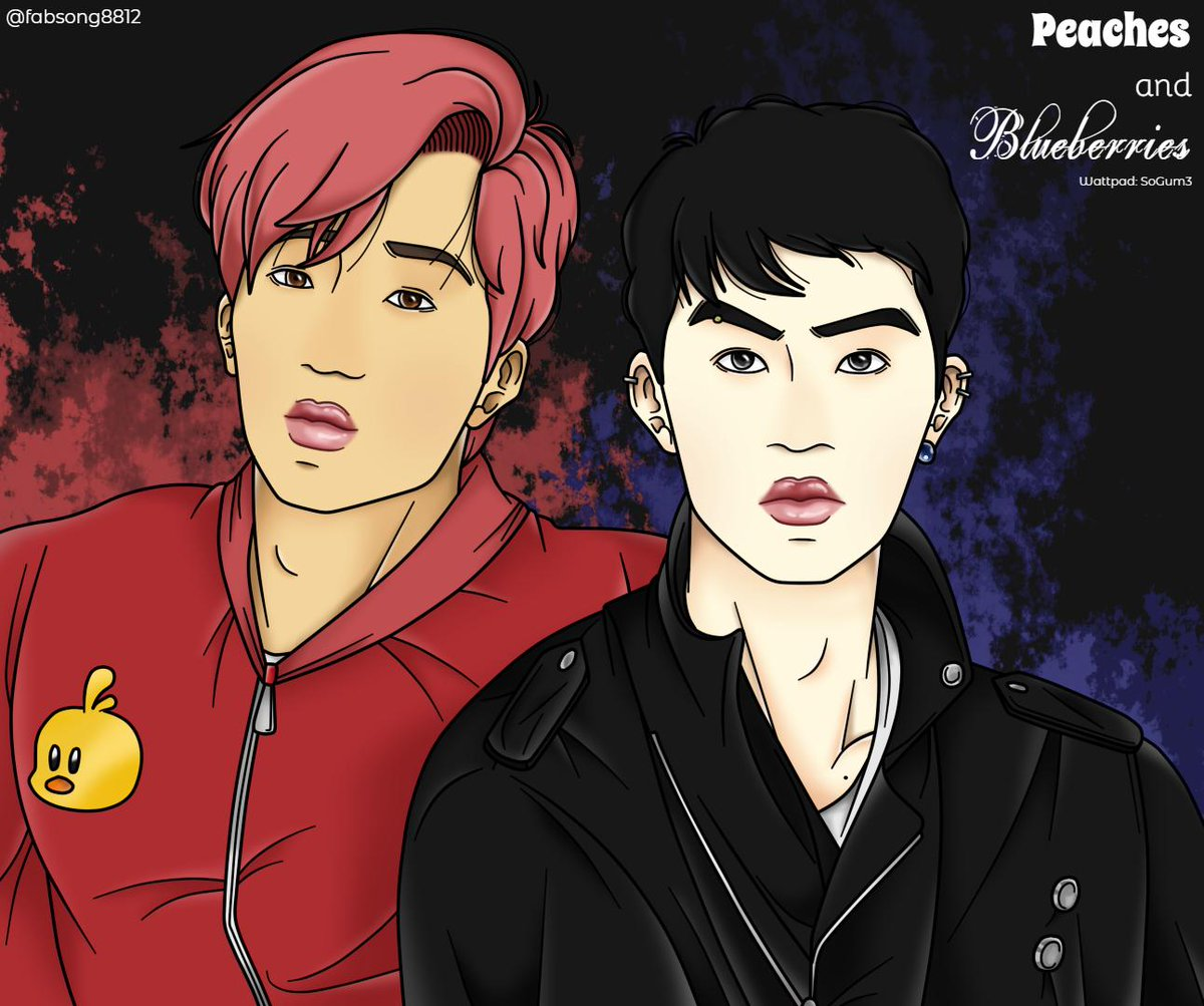 [FANART KAISOO]  Peaches & Blueberries 🍑🍇  🐻🐧  Fanart inspired by one of my fanfictions in Spanish ✒  You can see the HD pic here -> http://fabsong8812.tumblr.com   #kaisoo #kadi #dika #sookai #kai #do #jongin #kyungsoo #exo #fanfic #fanart #yaoi #카디 #카이 #디오 #종인 #경수 #엑소