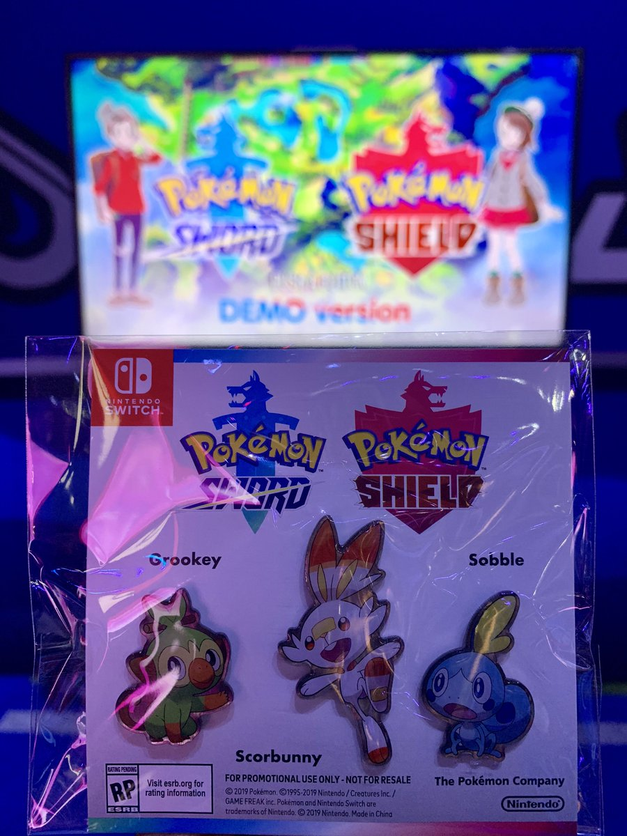 Defeating a Gym gets you a badge—but here at #E32019, completing the #PokemonSwordShield demo gets you a set of pins featuring Grookey, Scorbunny and Sobble! #E32019 #PokemonE3