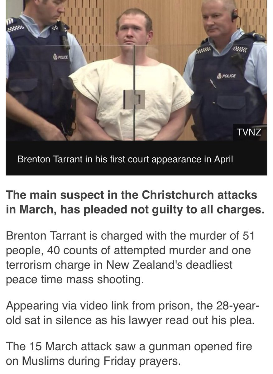And he pleads not guilty #ChristChurch <br>http://pic.twitter.com/IbRRJA8FA2
