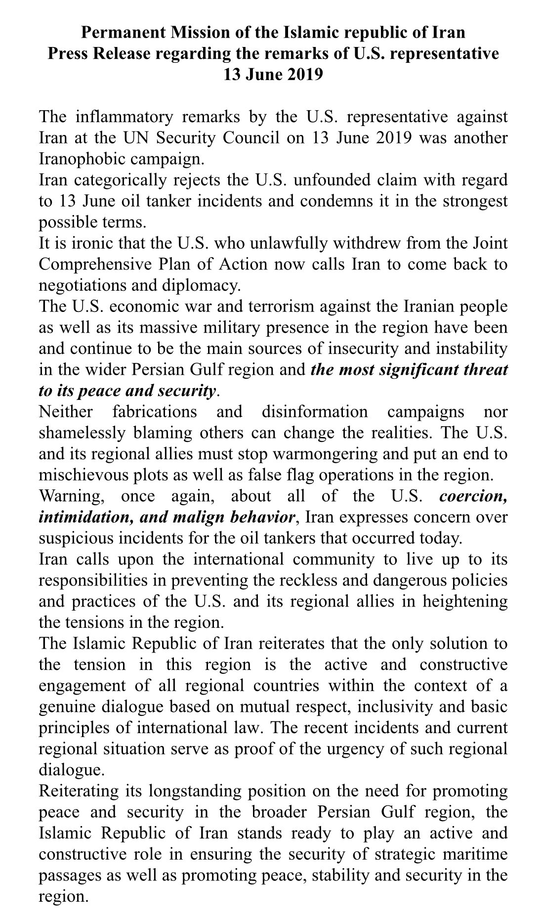 Iran statement