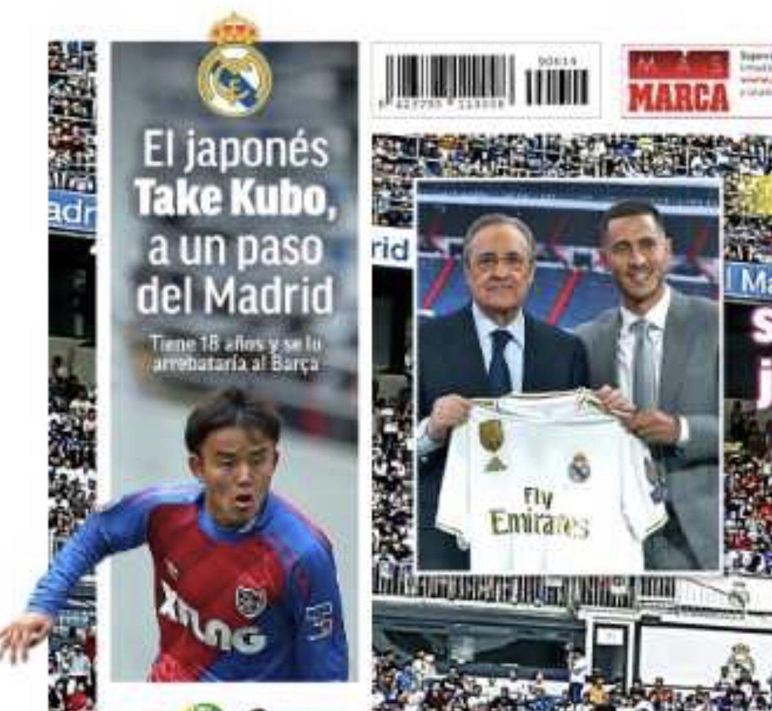 En portada de @marca  Take Kubo cerca del Madrid 🤦🏻♂️ #mercato