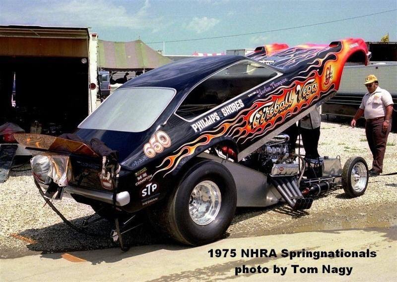 In honor of this Saturday's Funny Car Fever our #throwbackthursday photo is of Harlan Thompson and the Fireball Vega!  #nationaltrailraceway #nhrahistory #vintagedragracing #ohio #columbus