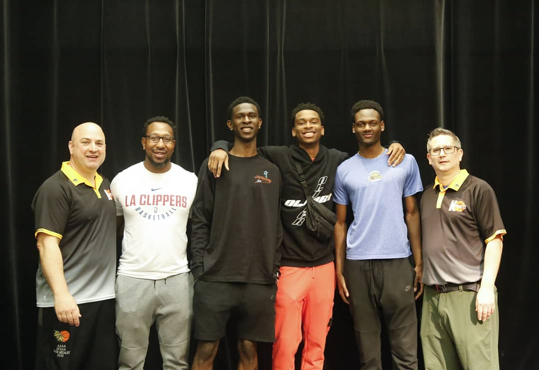 Huge #thankyou to @shaiglalex for the visit. What an awesome message delivered to STM student body by Shai Gilgeous-Alexander. Also big thanks to Coach @kenoldknight another former player of Coach Stef and Chris, for stopping by.