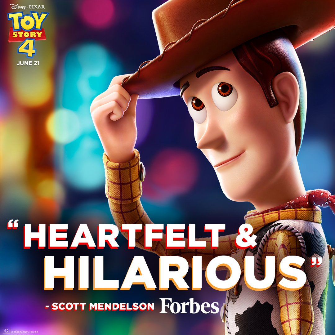 """#ToyStory4 is """"heartfelt & hilarious."""" Get your tickets now and see the film in theaters June 21. http://bit.ly/ToyStoryTix"""