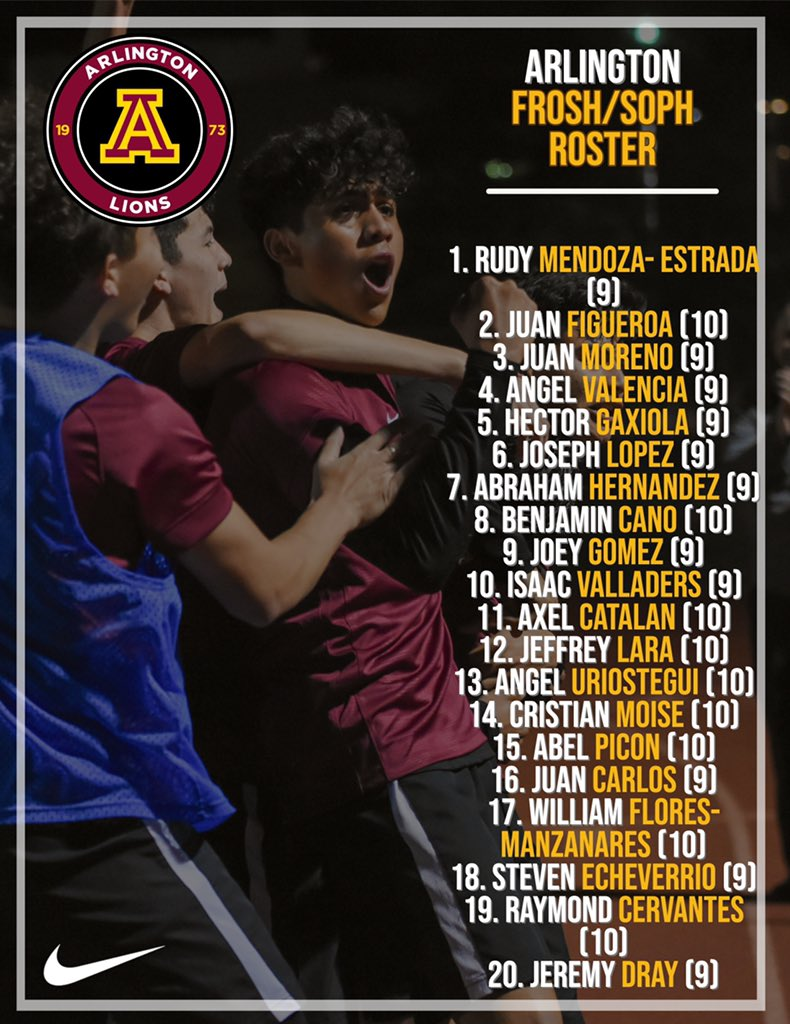 Up first:   Frosh/Soph   Rosters Welcome to the ⚽️ family @arlington_lions