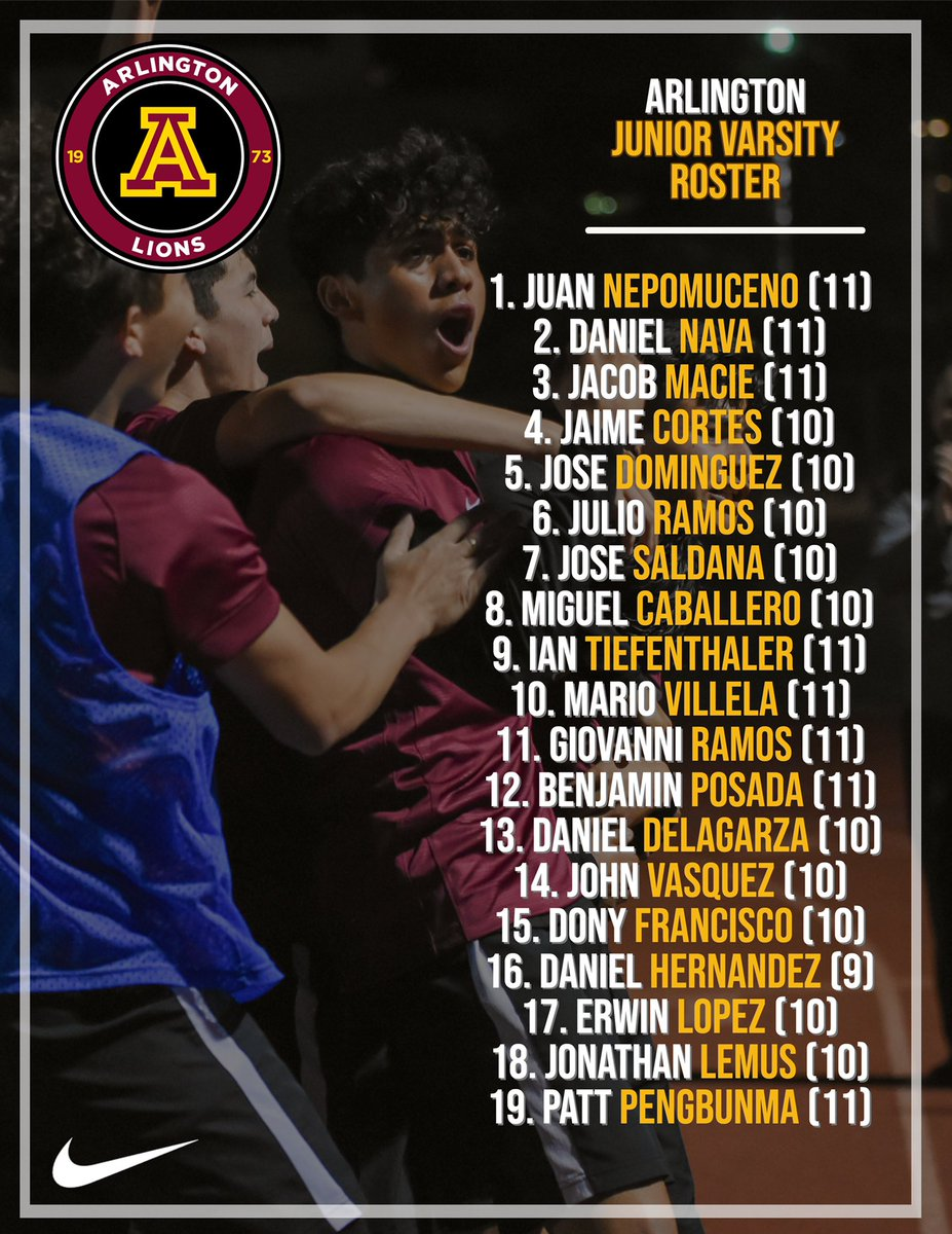 Up next:   Junior Varsity   Roster Welcome to the ⚽️ family @arlington_lions