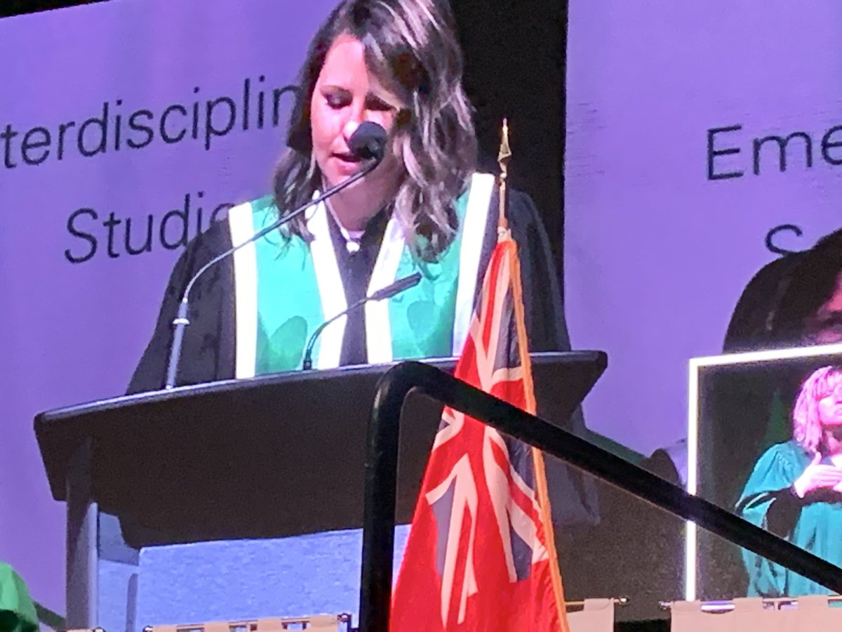 @Alumni_DC Melissa Farrow delivers a wonderful message to our grads today. Her career path led to a dream job at @SickKidsNews thanks to mentorship support, courage to take risks and belief in herself. Well done, Melissa! Congratulations #DC2019 grads! #DCProud @durhamcollege<br>http://pic.twitter.com/0bp7qTvf7H