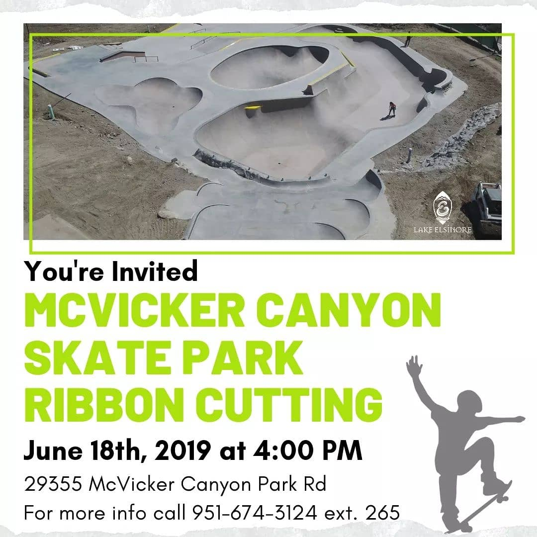 Today, we completed McVicker Canyon Skate Park. Join us to celebrate at a special ribbon cutting on June 18 at 4 p.m.   This 13,000 square foot #skatepark is our most EXTREME yet. It first opened in 2002 as our first skate park.  #lakeelsinore #DreamExtreme #LEatWork<br>http://pic.twitter.com/H1bVoz085y
