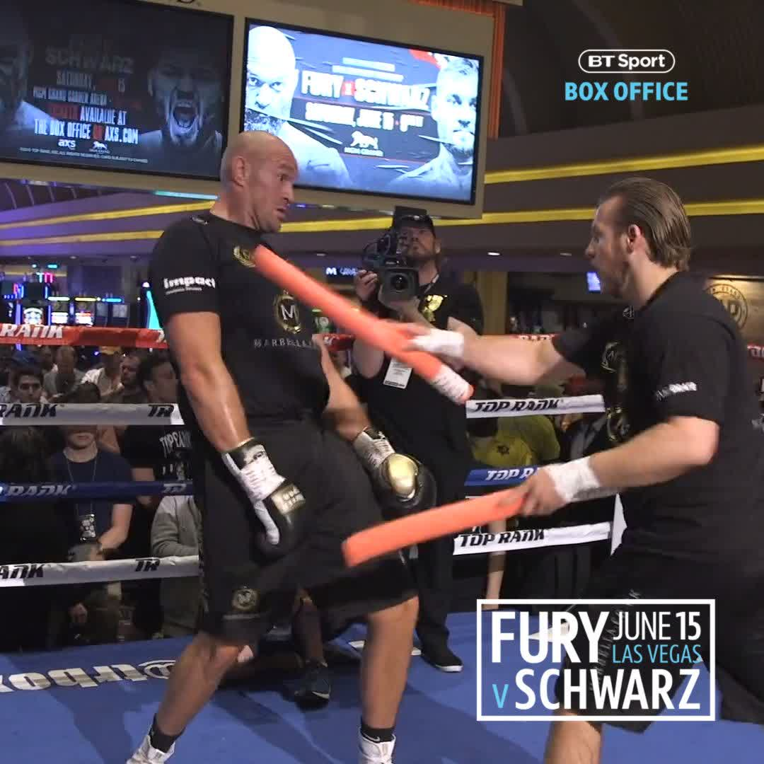 Tyson Fury's head movement is unreal...  A heavyweight shouldn't be able to move like he does! 🔥  #FurySchwarz | June 15th | BT Sport Box Office