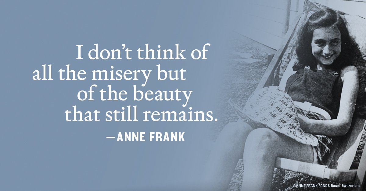 #AnneFrank received the diary that would later be read by millions on her 13th birthday. In honor of what would have been her 90th birthday tomorrow, we'll share 13 of Anne's most inspiring quotes. Reply with your favorite quote. #Anne90