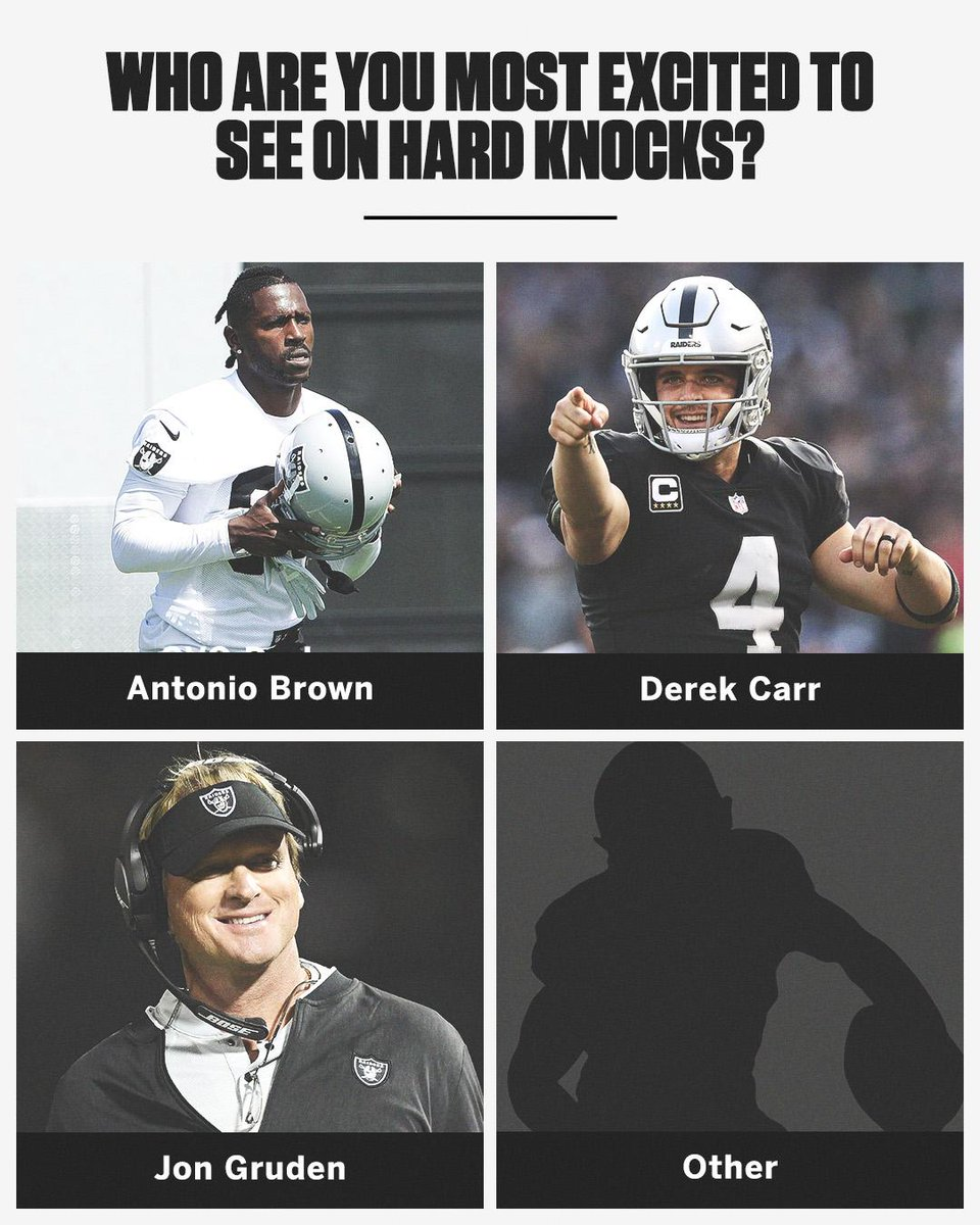 "The Raiders will be on ""Hard Knocks"" this season.   Who are you pumped to watch?  <br>http://pic.twitter.com/ETQWS6fGlw"